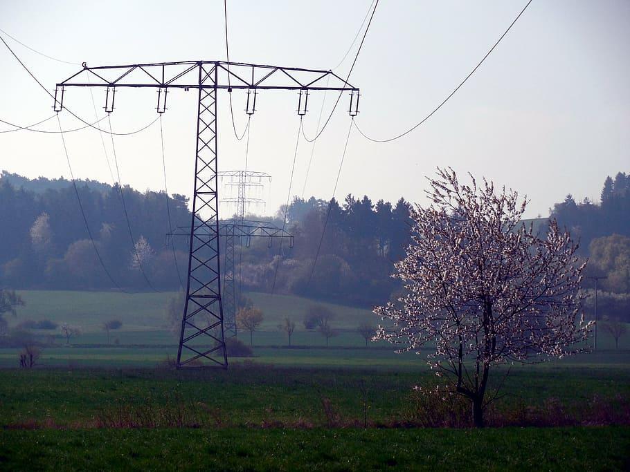 cadena de torres de alta tensión